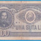 (18) BANCNOTA ROMANIA - 100 LEI 1952, REP. POPULARA ROMANA, SERIE DIN 1 CIFRA - Bancnota romaneasca