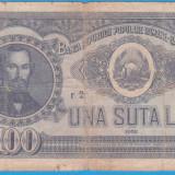 (21) BANCNOTA ROMANIA - 100 LEI 1952, REP. POPULARA ROMANA, SERIE DIN 1 CIFRA - Bancnota romaneasca