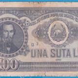 (23) BANCNOTA ROMANIA - 100 LEI 1952, REP. POPULARA ROMANA, SERIE DIN 1 CIFRA - Bancnota romaneasca