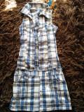 Sarafan de vara, salopeta, rochie de vara pentru fetite, 10-12 ani, carouri, Fete