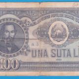 (5) BANCNOTA ROMANIA - 100 LEI 1952, REP. POPULARA ROMANA, SERIE DIN 1 CIFRA - Bancnota romaneasca