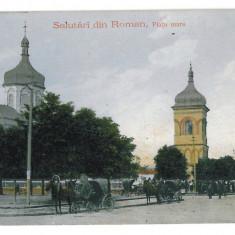 3137 - Neamt, ROMAN, Market and Church - old postcard - used - Carte Postala Moldova 1904-1918, Circulata, Printata
