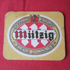 Suport pahar, cartonas reclama, biscuite bere Mutzig - Cartonas de colectie