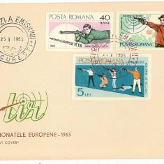 Romania ( 608-a ) - 2 FDC nedantelate, Camp. Europene de Tir - 1965