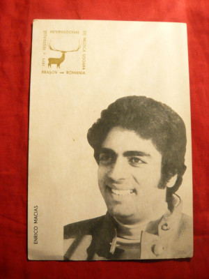 Ilustrata - Enrico Macias - Cerbul de Aur 1971- Ed.RadioTV Romana ,cu stampila foto