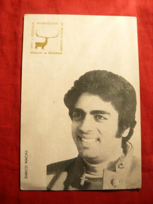 Ilustrata - Enrico Macias - Cerbul de Aur 1971- Ed.RadioTV Romana ,cu stampila