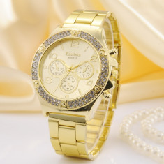 Ceas Dama KANIMA LUX Elegant Crystal Model 2015 AURIU, ARGINTIU, ROZ| GARANTIE, Quartz, Otel
