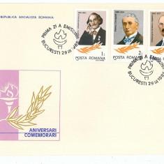 Romania ( 1120 ) - 2 FDC, ANIVERSARI-COMEMORARI - 1985, An: 1965