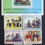 CONGO - BICENTENARUL REVOLUTIEI AMERICANE, 5 VALORI SI 1 S/S OBLIT - EO 284A, An: 1970, Europa