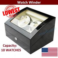 Watch Winder 4 + 6 dispozitiv Cutie de intoarcere pentru ceasuri automatice - Cutie Ceas