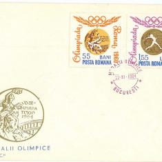 Romania ( 596 ) - 3 FDC dantelate, MEDALII OLIMPICE - 1964, An: 1965