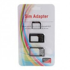 Set 3 adaptoare : NANO SIM-MICRO SIM/NANO SIM - SIM/ MiCRO SIM-agrafa pt. Iphone - Adaptor microsim