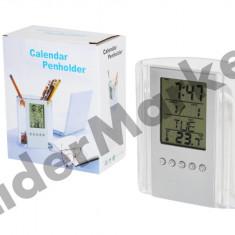 Suport de birou pentru pixuri cu ceas alarma termometru si calendar
