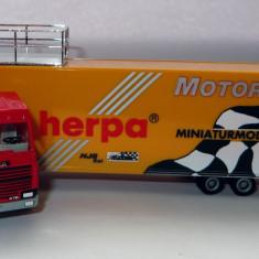 Herpa SCANIA 144M Herpa transportor motorsport 1:87 - Macheta auto