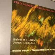 MENDELSSOHN - SYMPH.No 4 Italiana - Ion Baciu - VINIL/Electrecord/IMPECABIL - Muzica Clasica