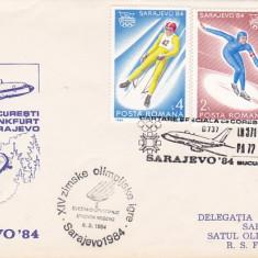 Bnk fil Plic ocazional aerofilatelie JO Sarajevo 84 zbor