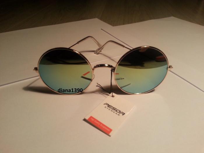 Ochelari de soare rotunzi John Lennon lentile verzi style retro
