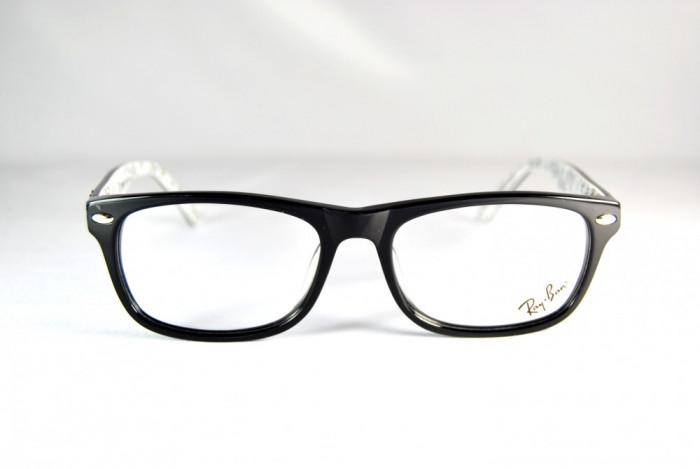 Rame de ochelari Ray Ban RB5228 2009 negru cu print interior foto mare