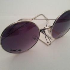 Ochelari de soare rotunzi John Lennon lentile negre gradient degrade style retro, Unisex, Protectie UV 100%