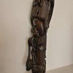 ARTA TRIBALA AFRICANA - STATUETA CU PERSONAJE SUPRAPUSE - LEMN DE TEK -DEOSEBITA