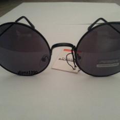 Ochelari de soare rotunzi John Lennon lentile negre style retro, Unisex, Protectie UV 100%