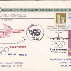 Bnk fil Plic ocazional aerofilatelie JO Seul 88 zbor TAROM