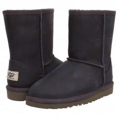 UGG Kids Classic Short Leather (copii) | 100% originali, import SUA, 10 zile lucratoare - z12809 - Cizme copii Ugg, Fete, Piele intoarsa, Negru