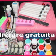 Kit unghii false cu Lampa UV 12 geluri colorate 8 pensule livrare GRATUITA Sina