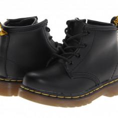 Dr. Martens Kid's Collection Brooklee B 4-Eye Lace Boot (copii) | 100% originali, import SUA, 10 zile lucratoare - z12809 - Ghete copii Dr Martens, Baieti, Piele naturala, Negru