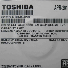 HDD 2TB Toshiba DT01ACA200 SATA - DEFECT, 2 TB, 7200, SATA 3