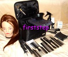 Set kit frizerie coafor COMPLET cu foarfeca  tuns filat cap practica GEANTA ! foto