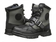Polo Ralph Lauren Kids Colbey Boot FT14 (Little Kid) | 100% originali, import SUA, 10 zile lucratoare - z12809, Baieti, Gri, Piele naturala, Polo By Ralph Lauren