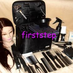 Set kit frizerie coafor COMPLET cu foarfeca tuns filat cap practica par natural