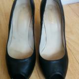 Pantofi din piele cu platforma marimea 39, sunt noi! - Pantof dama Buffalo, Culoare: Negru, Piele naturala, Cu toc