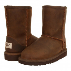 UGG Kids Classic Short Leather (copii) | 100% originali, import SUA, 10 zile lucratoare - z12809 - Cizme copii Ugg, Baieti, Piele naturala, Maro
