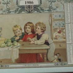 Tablou /rama din lemn cu sticla - Calendar model deosebit anul 1986 !!!!