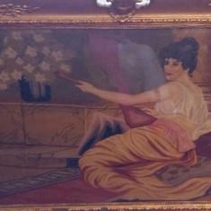 "DB - Superb goblen, de 100 ani, ""Femeie cantind la lauta"", rama exceptionala!"