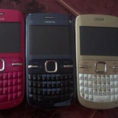 NOKIA C3-00 / AURII / ALBASTRE / ROZ - Telefon mobil Nokia C3, Neblocat