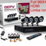 Sistem Complet Supraveghere Video 4 camere ext/int DVR internet full D1 HDMI Rom - Camera CCTV, Exterior, Cu fir, Digital, Color