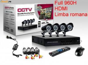 Sistem Complet Supraveghere Video 4 camere ext/int DVR internet full D1 HDMI Rom