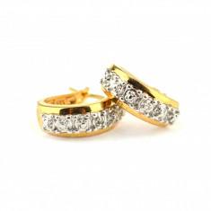 Cercei argint placati aur,  anturaj accent diamant, inspiratie Art Deco, vintage
