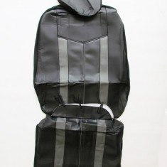 Huse scaune auto 661 imitatie piele Negru + Gri ( 11piese ) - Husa scaun auto