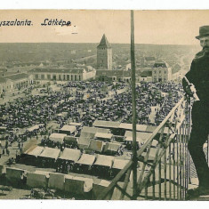 82 - Bihor, SALONTA, Synagogue to left, Market - old postcard - used - 1914 - Carte Postala Crisana 1904-1918, Circulata, Printata