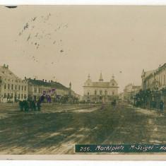 2182 - Maramures, SIGHET, Market - old postcard, real PHOTO, CENSOR - used 1917, Circulata, Fotografie