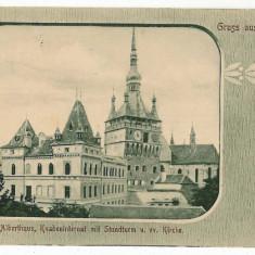 2151 - Mures, SIGHISOARA, Turnul cu ceas - old postcard - used -1904 - Carte Postala Transilvania pana la 1904, Circulata, Printata