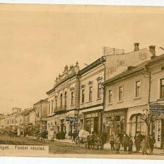99 - Maramures, SIGHET, market, stores - old postcard - used - 1913 - Carte Postala Maramures 1904-1918, Circulata, Printata