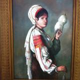 Tablou atributia lui Emilian Lazarescu Tarancuta torcand - Pictor roman, Peisaje, Ulei, Impresionism