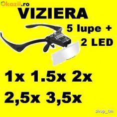 LUPA OCHELARI viziera cu LUMINA LED cu 5 LUPE electronica ceasornicar bijutier