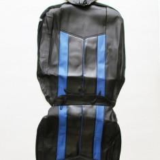 Huse scaune auto 661 imitatie piele Negru + Albastru ( 11piese ) - Husa scaun auto