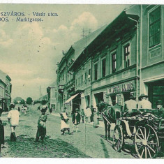 1163 - Hunedoara, ORASTIE, cart, stores - old postcard - used -1915 - Carte Postala Transilvania 1904-1918, Circulata, Printata